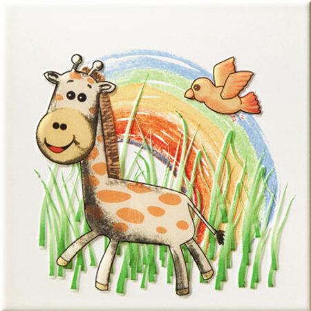 Tubądzin Pastel Safari 2 Dekor ścienny 20x20x0,7 cm, niebieski, czarny, żółty, zielony, biały mat TUBDSPASSAF2202007