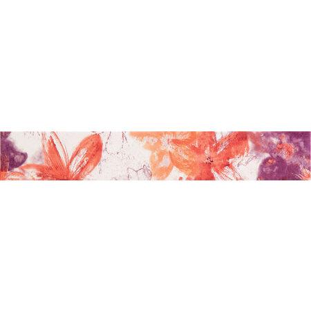 Tubądzin Wave classic Listwa ścienna 44,8x7,1x0,8 cm, czerwona, różowa, biała, połysk TUBLSWAVCLA4487108