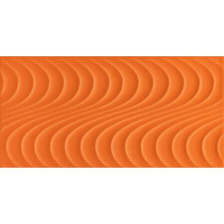 Tubądzin Wave orangeA Płytka ścienna 44,8x22,3x0,8 cm, pomarańczowa połysk TUBPSWAVORAA44822308