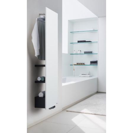 Vasco Niva Bath Pionowa N1L1 Grzejnik pojedynczy 42x182 cm z wieszakiem i 3 półkami, biały S600/czarny RAL 9005 111910420182011880600-0000+118380318209005