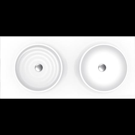 Vayer Boomerang Umywalka nablatowa 120x50 cm podwójna, biała 120.050.012.3-1.0.1.0