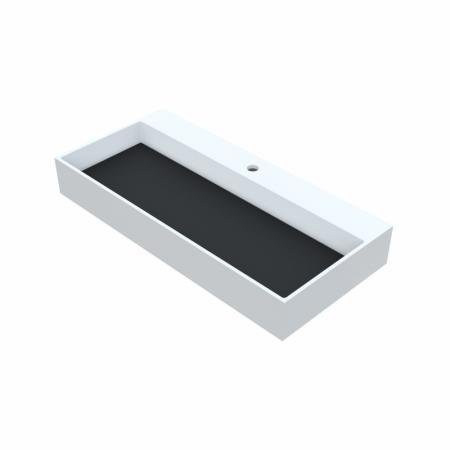 Vayer Lepus Umywalka nablatowa 60x42,5 cm biała/czarna 060.042.010.3-1.0.1.1.0.MC
