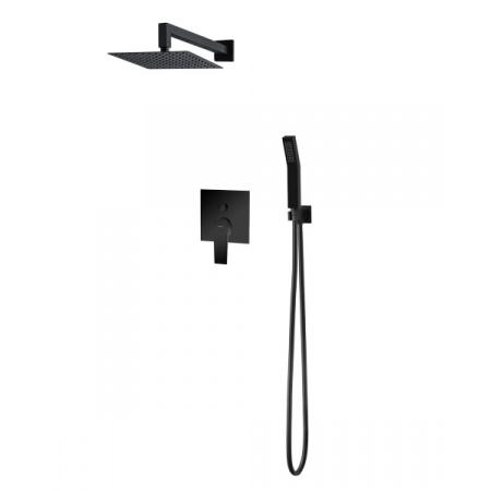 Vedo Sette Nero Zestaw prysznicowy podtynkowy z deszczownicą 25x25 cm czarny mat VBS7223/25/CZ