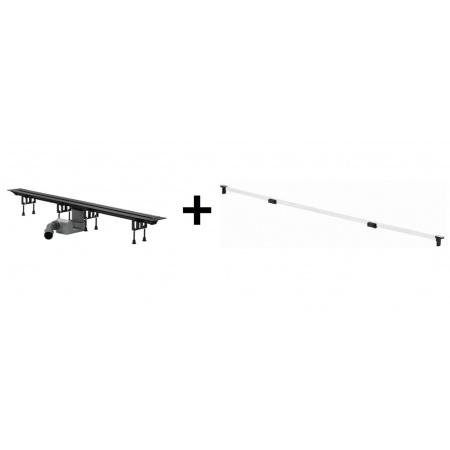 Viega Advantix Vario Zestaw odpływ liniowy o regulowanej długości 30-120 cm z rusztem wykończeniowym, biały 686277 / 4965.10+711887