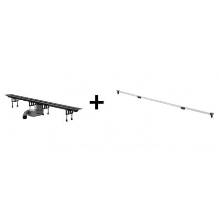 Viega Advantix Vario Zestaw odpływ liniowy o regulowanej długości 30-120 cm z rusztem wykończeniowym, chrom matowy 686277 / 4965.10+686284