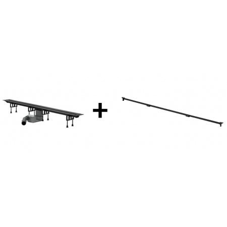 Viega Advantix Vario Zestaw odpływ liniowy o regulowanej długości 30-120 cm z rusztem wykończeniowym, czarny 686277 / 4965.10+711870