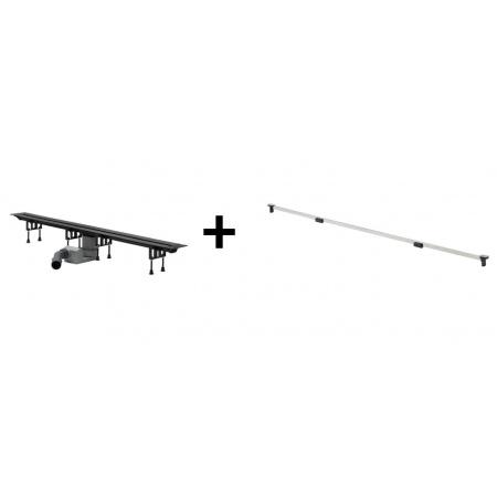 Viega Advantix Vario Zestaw odpływ liniowy o regulowanej długości 30-120 cm z rusztem wykończeniowym, stal błyszcząca 686277 / 4965.10+686291