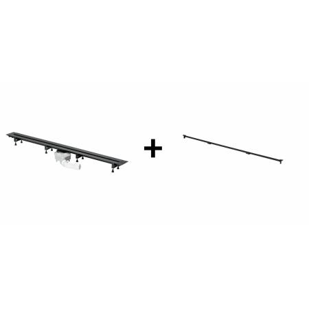 Viega Advantix Vario Zestaw odpływ liniowy o regulowanej długości 30-120 cm z rusztem wykończeniowym, wersja remontowa, czarny 711870+4966.10 / 721671