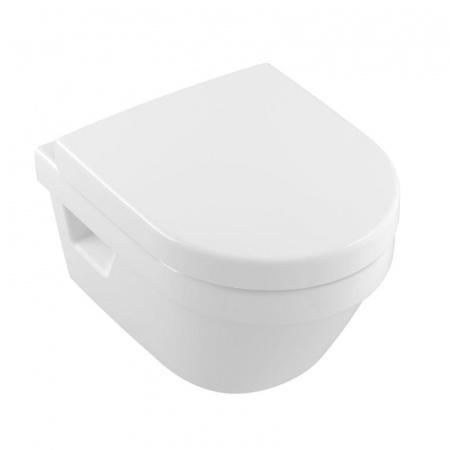 Villeroy & Boch Architectura Toaleta WC podwieszana 48x35 cm Compact krótka DirectFlush bez kołnierza z powłokąCeramicPlus, biała Weiss Alpin 4687R0R1