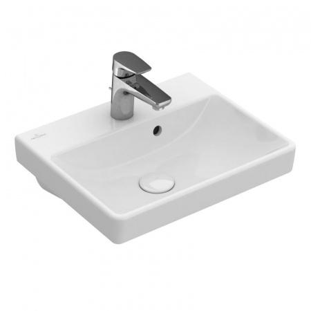 Villeroy & Boch Avento Umywalka mała nablatowa 45x37 cm z przelewem i z powłoką CeramicPlus, biała Weiss Alpin 735845R1