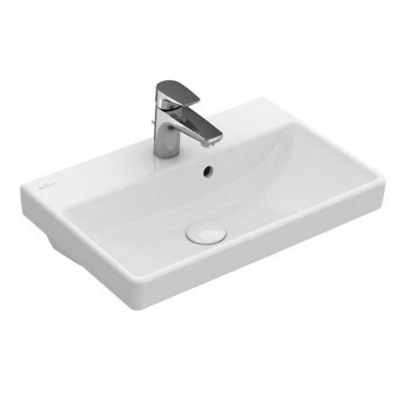 Villeroy & Boch Avento Umywalka mała wisząca 55x37 cm z przelewem i z powłoką CeramicPlus, biała Weiss Alpin 4A0055R1