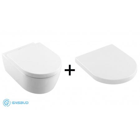 Villeroy & Boch Avento Zestaw Combi-Pack Toaleta WC podwieszana 53x37 cm DirectFlush bez kołnierza z deską sedesową wolnoopadającą, biały 5656HR01 5656R001+9M77C101