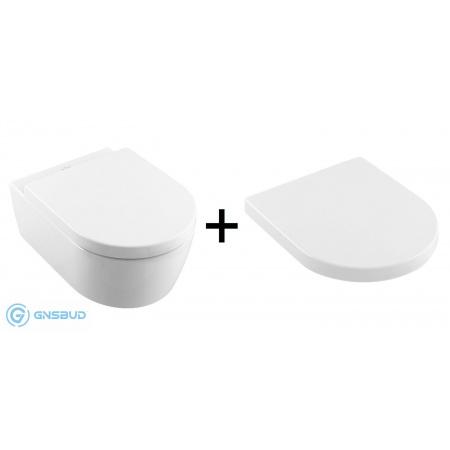 Villeroy & Boch Avento Zestaw Combi-Pack Toaleta WC podwieszana z deską sedesową wolnoopadającą z powłoką CeramicPlus, biała Weiss Alpin 5656HRR1