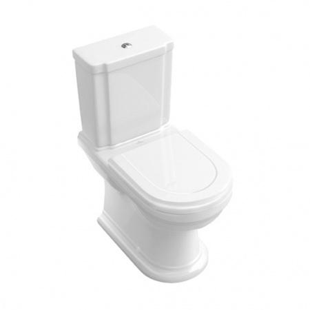 Villeroy & Boch Hommage Toaleta WC stojąca kompaktowa 37x72,5 cm lejowa, z powłoką CeramicPlus, biała Weiss Alpin 666210R1