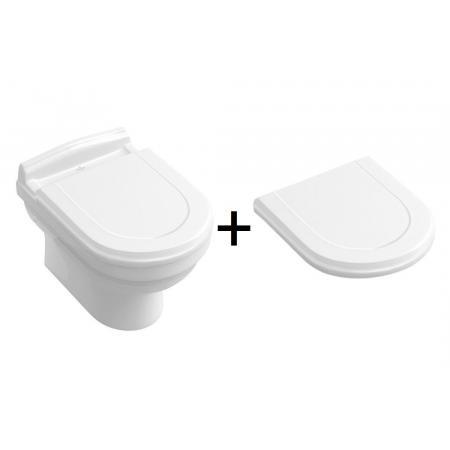Villeroy & Boch Hommage Toaleta WC podwieszana 60x37 cm z deską wolnoopadającą z powłoką CeramicPlus biały 6661B0R1+8809S1R1