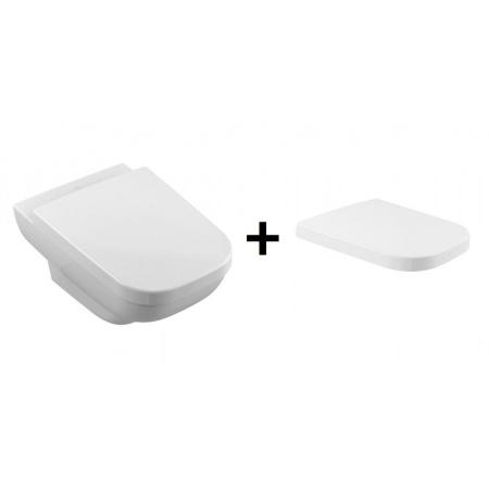 Villeroy & Boch Joyce Toaleta WC podwieszana 56x37 cm lejowa DirectFlush z deską sedesową wolnoopadającą, biała Weiss Alpin 5607R001+9M52S101
