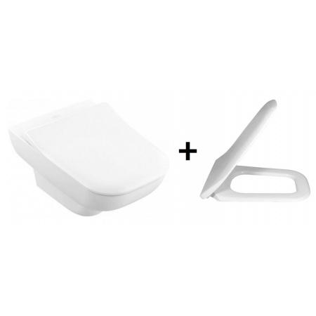 Villeroy & Boch Joyce Toaleta WC podwieszana 56x37 cm lejowa DirectFlush z deską sedesową wolnoopadającą Slimseat, biała Weiss Alpin 5607R001+9M62S101
