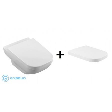 Villeroy & Boch Joyce Zestaw Combi-Pack Toaleta WC podwieszana 56x37 cm DirectFlush bez kołnierza z deską sedesową wolnoopadającą, biała 5607R201