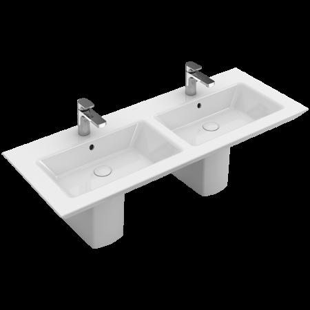 Villeroy & Boch Legato Umywalka meblowa podwójna z przelewem 130x50 cm, biała Weiss Alpin CeramicPlus 4150D4R1