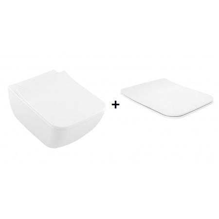 Villeroy & Boch Legato Zestaw Toaleta WC podwieszana 56x37,5 cm bez kołnierza z deską sedesową wolnoopadającą, biała Weiss Alpin 5663R001+9M96S101