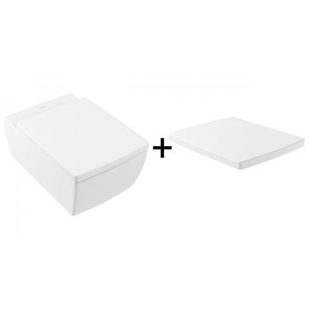 Villeroy & Boch Memento 2.0 Toaleta WC podwieszana 56x37,5 cm bez kołnierza CeramicPlus z deską wolnoopadającą biała 4633R0R1+8M24S101
