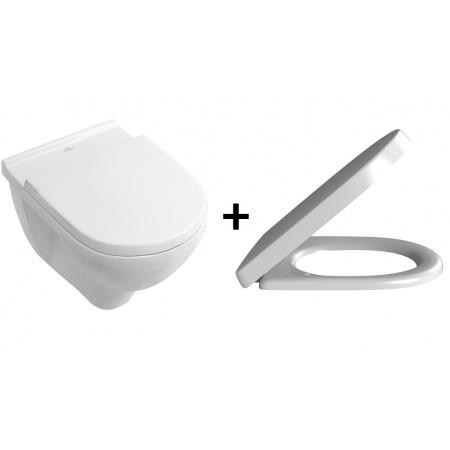 Villeroy & Boch O. Novo Zestaw Toaleta WC podwieszana 53x36 cm bez kołnierza z deską sedesową wolnoopadającą, biały 5660HR01 (5660R001+9M38S101)