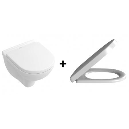 Villeroy & Boch O.Novo Zestaw Combi-Pack Toaleta WC podwieszana Compact krótka z deską sedesową wolnoopadającą, biały 5688H101