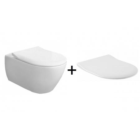 Villeroy & Boch Subway 2.0 Combi-Pack Toaleta WC podwieszana 56,5x37,5 cm z deską sedesową wolnoopadającą, biała Weiss Alpin 5614R201