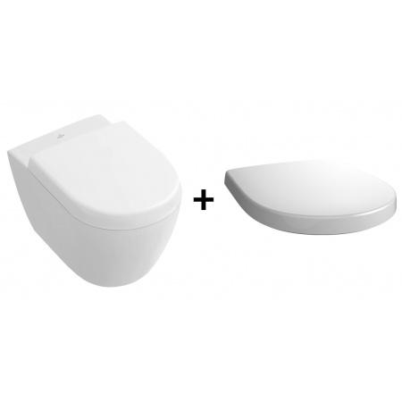 Villeroy & Boch Subway 2.0 Zestaw Toaleta WC podwieszana 35,5x48 cm Compact DirectFlush z deską sedesową wolnoopadającą, biała Weiss Alpin 5606R001+9M69S101