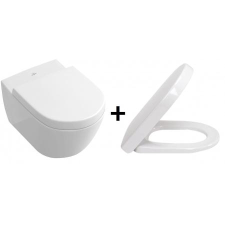 Villeroy & Boch Subway 2.0 Zestaw Toaleta WC podwieszana 56x37 cm DirectFlush bez kołnierza CeramicPlusz deską sedesową wolnoopadającą, biały 5614R0R1+9M68S101