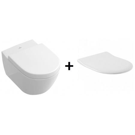 Villeroy & Boch Subway 2.0 Zestaw Toaleta WC 56x37 cm DirectFlush bez kołnierza CeramicPlusz deską wolnoopadającą biały 5614R0R1+9M78S101