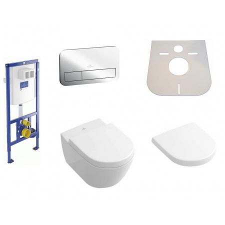 Villeroy & Boch Subway 2.0 Zestaw 5w1 Toaleta WC podwieszana 56,5x37,5 cm DirectFlush z deską wolnoopadającą, stelażem, przyciskiem i matą, biała Weiss Alpin 5614R001+9M68S101+92246100+92249061+MATA