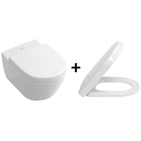 Villeroy & Boch Subway 2.0 Zestaw Miska WC wisząca + Deska wolnoopadająca, biała 56001001 + 9M68S101