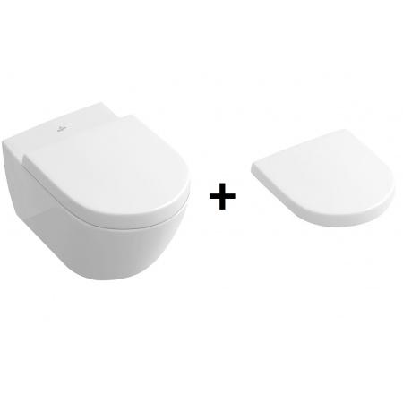 Villeroy & Boch Subway 2.0 Zestaw Toaleta WC podwieszana 37,5x56,5 cm DirectFlush z deską sedesową wolnoopadającą, biały Weiss Alpin 5614R001+9M68S101