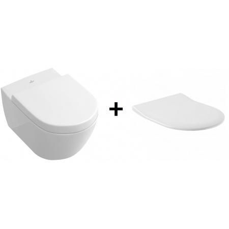 Villeroy & Boch Subway 2.0 Zestaw Toaleta WC podwieszana 56,5x37,5 cm DirectFlush bez kołnierza z deską sedesową wolnoopadającą, biały Weiss Alpin 5614R001+9M78S101