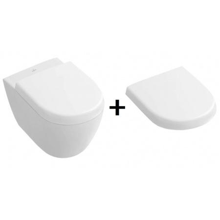 Villeroy & Boch Subway 2.0 Zestaw Toaleta WC podwieszana 48x35,5 cm Compact DirectFlush z powłoką CeramicPlus, biała 5606R0R1+9M69S101