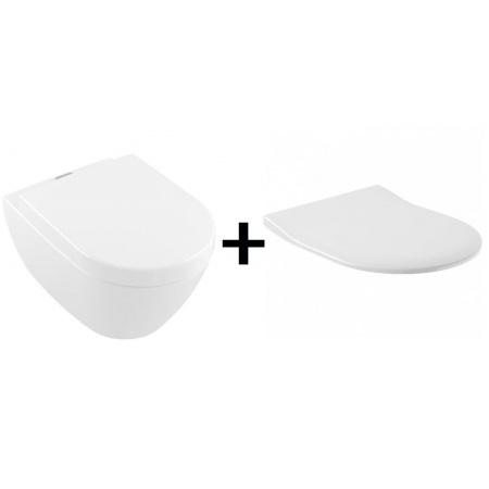 Villeroy & Boch Subway 2.0 Zestaw Toaleta WC podwieszana 56x37 cmViFresh DirectFlush bez kołnierza z deską sedesową wolnoopadającą cienką, biały 5614A101+9M78S101