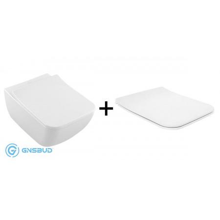 Villeroy & Boch Venticello Combi-Pack Zestaw Toaleta WC podwieszana DirectFlush bez kołnierza CeramicPlus z deską sedesową wolnoopadającą SlimSeat, biały 4611RLR1
