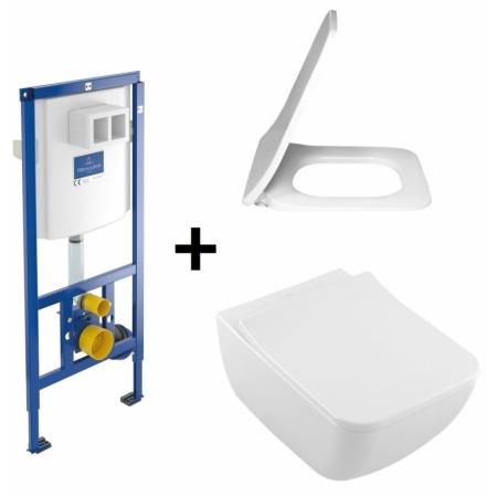 Villeroy & Boch Venticello Zestaw Toaleta WC podwieszana 37,5x56 cm DirectFlush bez kołnierza wewnętrznego CeramicPlus z deską sedesową wolnoopadającą i stelażem ViConnect, biały 4611R0R1+9M79S101+92246100