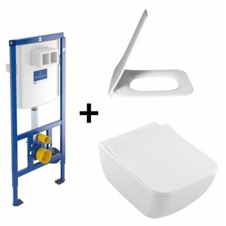 Villeroy & Boch Venticello Zestaw Toaleta WC podwieszana 37,5x56 cm DirectFlush bez kołnierza wewnętrznego CeramicPlus z deską sedesową wolnoopadającą i stelażem ViConnect, biały 4611R0R1+9M80S101+92246100