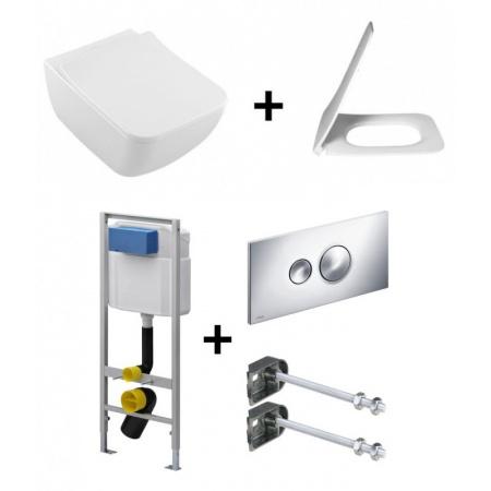Villeroy & Boch Venticello Zestaw Toaleta WC podwieszana 37,5x56 cm DirectFlush bez kołnierza wewnętrznego CeramicPlus z deską sedesową wolnoopadającą i stelażem Viega Eco Standard 3w1, biały 4611R0R1+9M80S101+713386