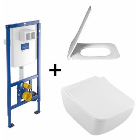 Villeroy & Boch Venticello Zestaw Toaleta WC podwieszana 37,5x56 cm DirectFlush bez kołnierza wewnętrznego z deską sedesową wolnoopadającą i stelażem ViConnect, biały 4611R001+9M80S101+92246100