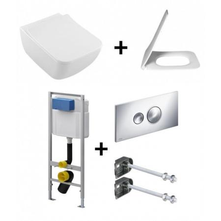 Villeroy & Boch Venticello Zestaw Toaleta WC podwieszana 37,5x56 cm DirectFlush bez kołnierza wewnętrznego z deską sedesową wolnoopadającą i stelażem Viega Eco Standard 3w1, biały 4611R001+9M80S101+713386