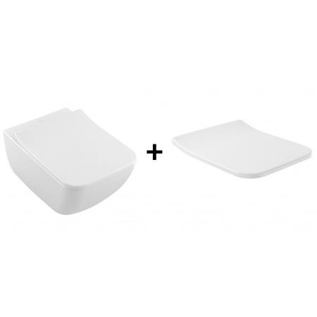 Villeroy & Boch Venticello Zestaw Toaleta WC podwieszana 37,5x56 cm DirectFlush z powłoką CeramicPlus z deską sedesową wolnoopadającą, biała Weiss Alpin 4611R0R1+9M79S101