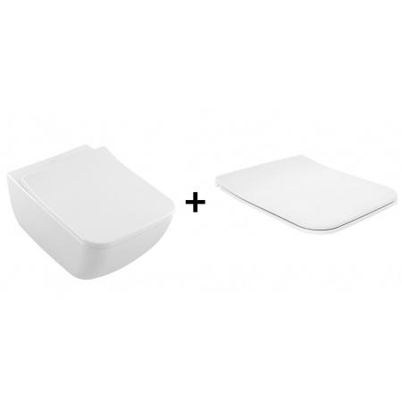 Villeroy & Boch Venticello Zestaw Toaleta WC podwieszana 37,5x56 cm DirectFlush z powłoką CeramicPlus z deską sedesową wolnoopadającą, biała Weiss Alpin 4611R0R1+9M80S101