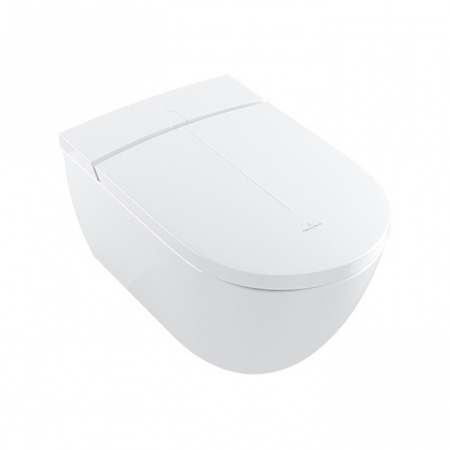 Villeroy & Boch ViClean I100 Toaleta WC myjąca podwieszana 59,5x38,5 cm DirectFlush bez kołnierza z deską sedesową wolnoopadającą z powłoką CeramicPlus, biała V0E100R1