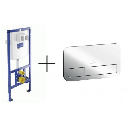 Villeroy & Boch ViConnect Zestaw Stelaż podtynkowy do miski WC podwieszanej do zabudowy lekkiej H112 cm z przyciskiem spłukującym, 92246100+92249061