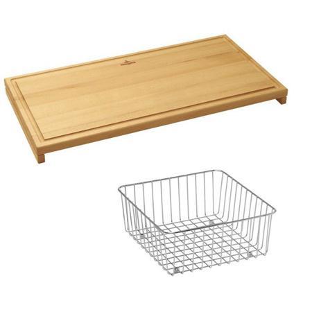 Villeroy&Boch Zestaw akcesoriów do zlewozmywaka deska 55x28x4,2 cm i koszyk, stalowy, drewniany 35x32,5x14 cm 8K061000
