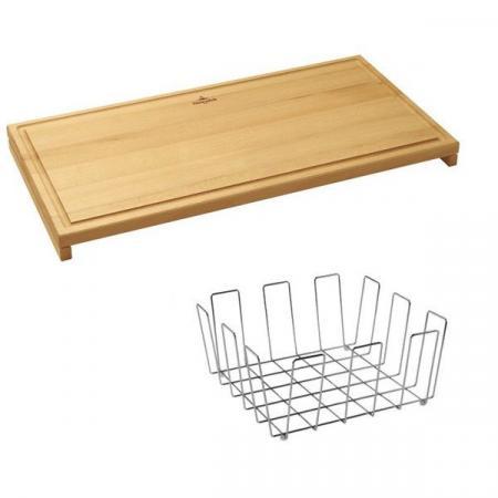 Villeroy&Boch Zestaw akcesoriów do zlewozmywaka deska 55x28x4,2 cm i koszyk 39x22,7x18,2 cm, stalowy, drewniany 8K150000