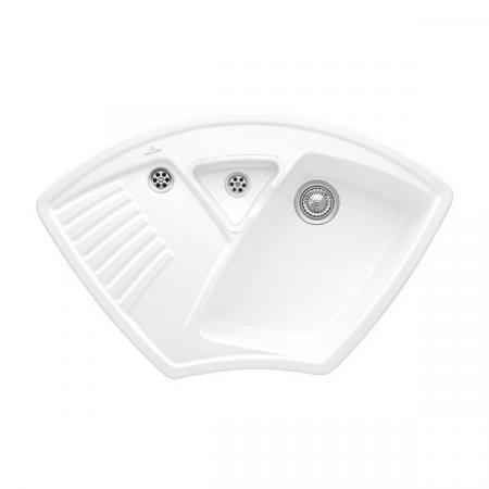 Villeroy&Boch Arena Corner Zlewozmywak ceramiczny 1-komorowy CeramicPlus 97,5x62,5 cm narożny do wbudowania, bez ociekacza, biały Snow White 672901KG